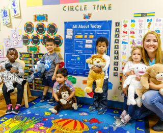 Students at  Pre-Kindergarten Meet Bluebee Pals